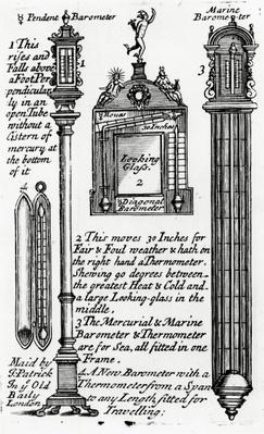 Advertisment for Barometers made by John Patrick, c.1705-1715