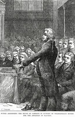 Burke addressing the House of Commons in support of Wilberforce's motion for the abolition of slavery