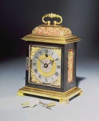 Miniature bracket clock with a blued steel and gilt metal case by Thomas Tompion