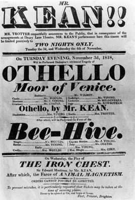 Theatre Bill advertising perfomances of Mr. Kean, 1818
