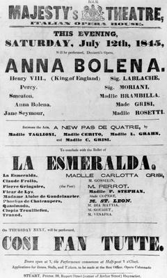Playbill for Her Majesty's Theatre, Italian Opera House, 1845