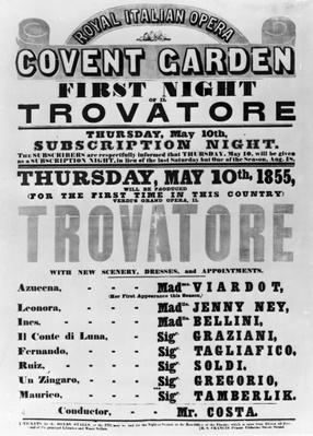 Playbill for the Royal Italian Opera at Covent Garden, 1855