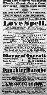Playbill announcing a performance of 'Love Spell' at the behest of the Duke and Duchess of Cambridge, 1839