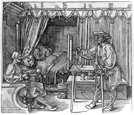 A draughtsman taking details for a portrait, using a perspective apparatus for drawing onto glass, from 'Course in the Art of Drawing' by Albrecht Durer, published Nuremberg 1525