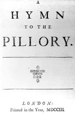 Title Page for 'A Hymn to the Pillory' by Daniel Defoe, 1703
