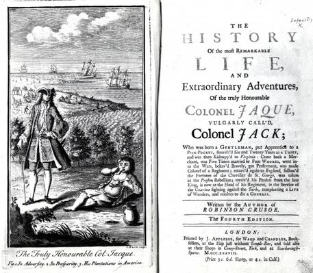 Title page and Frontispiece for 'The History of the most Remarkable Life and Extraordinary Adventures of the truly Honourable Colonel Jaque' by Daniel