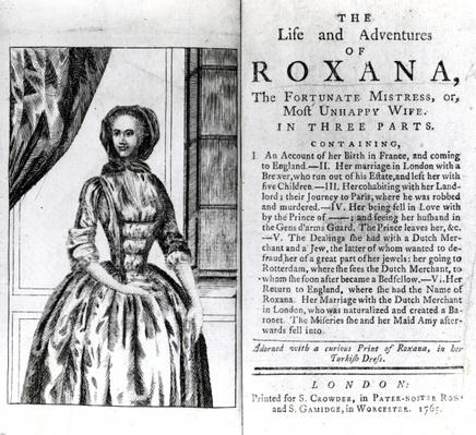 Frontispiece and Title page for 'The Life and Adventures of Roxana' by Daniel Defoe, published 1765