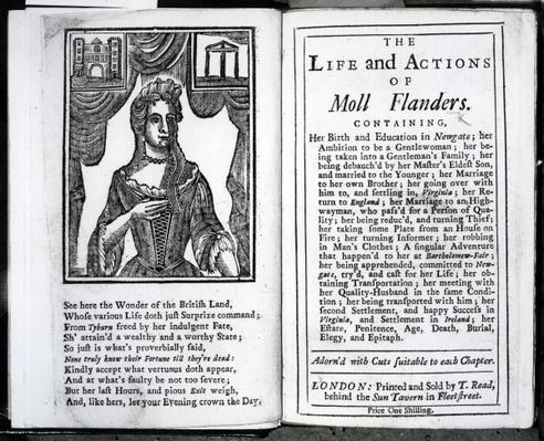 Frontispiece and Title page for 'The Life and Actions of Moll Flanders' by Daniel Defoe, published 1723