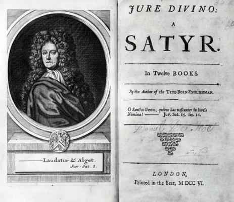 Frontispiece and Title Page for 'Jure Divino: A Satyr' by Daniel Defoe, published 1706