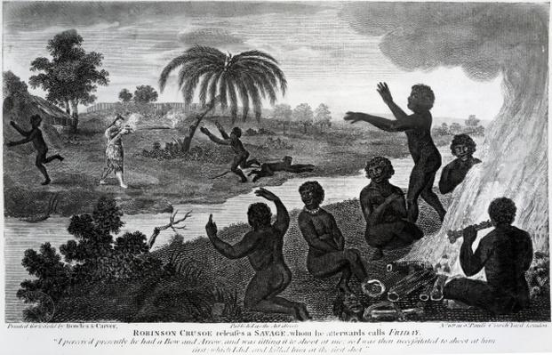 Robinson Crusoe releases a Savage, whom he afterwards calls Friday, illustration from 'Robinson Crusoe' by Daniel Defoe, published 1795