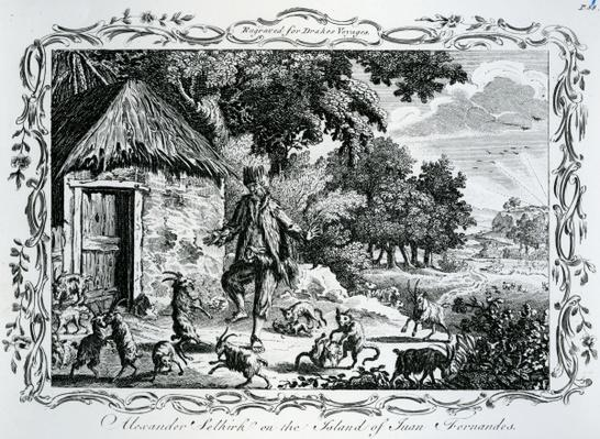 Alexander Selkirk on the Island of Juan Fernandes, published in 'Drakes Voyages', 1780