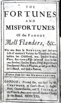 Title Page for 'Moll Flanders' by Daniel Defoe, published 1722