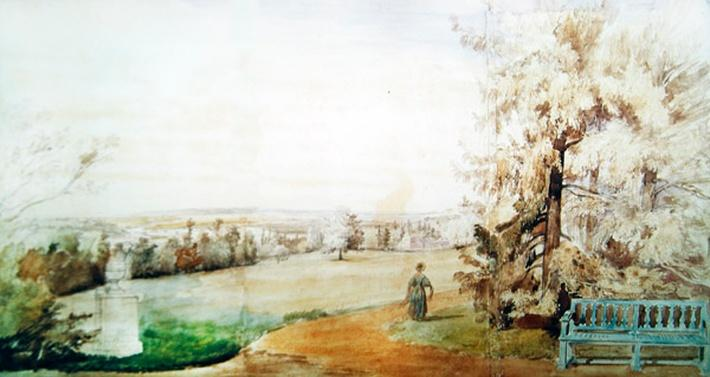 View of the park of Monsieur Geruin at Marly-le-Roi, 1837