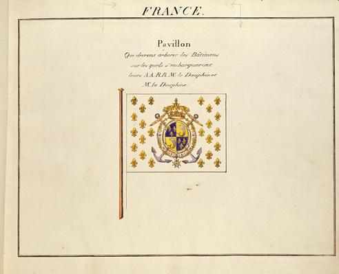 Flag of the Dauphin and Dauphine, Louis-Antoine and Marie-Therese of France, from 'Pavillons des Puissances Maritimes', c.1815-30