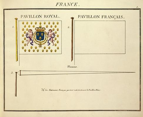 Flag of Louis XVIII and Charles X, Kings of France, from 'Pavillons des Puissances Maritimes'