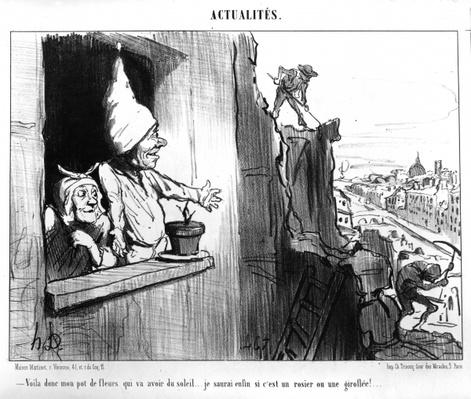 'At last my little flower pot will have some sun...I will learn at last if it is a rose bush or a wallflower!... caricature on the Haussmanization of Paris from 'Le Charivari', 18 December, 1852