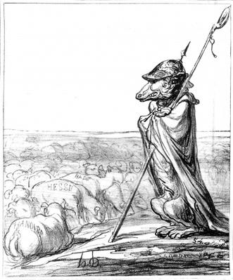 'La Fontaine Renewed', Prussian Wolf disguised as a shepherd to guard German sheep, from 'Le Charivari', 10 October, 1867