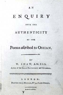 Title Page for 'An enquiry into the authenticity of the poems ascribed to Ossian' by William Shaw, published 1781