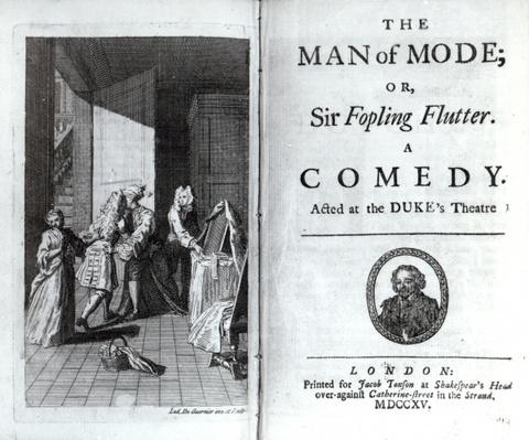 Frontispiece and Title Page for 'The Man of Mode, or Sir Fopling Flutter' by George Etherege, published 1715