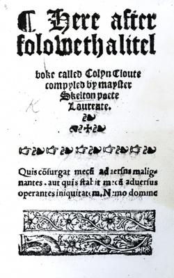 Title Page for 'Colin Cloute' by John Skelton, published c.1550