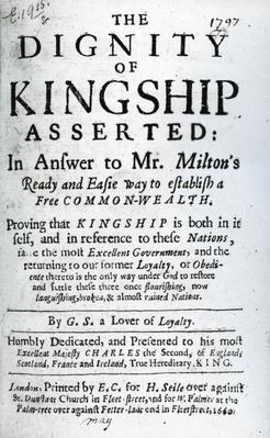 Title Page for 'The Dignity of Kingship Asserted' by G.S. a Lover of Loyalty, published 1660