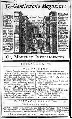 Cover of the first edition of 'The Gentleman's Magazine', published January 1731