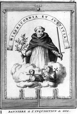 Banner of the Goa Inquisition, published in 'Relation de l'Inquisition de Goa' by Charles Dellon, published 1687