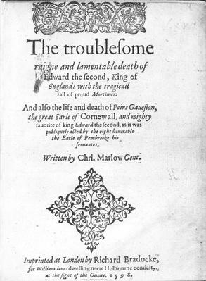Title Page for 'Edward II' by Christopher Marlowe, published 1598