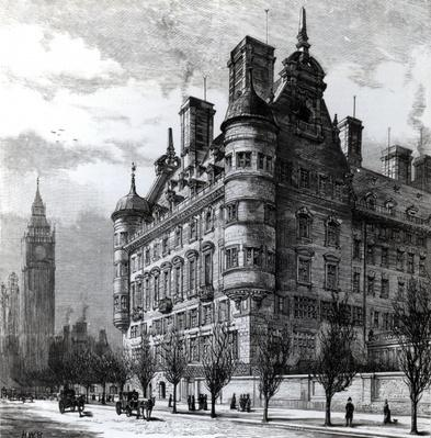 The New Police Offices on the Victoria Embankment, engraved by H.W.B., published in 'The Illustrated London News' c.1890