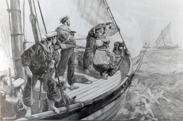 The East African Slave Trade: Steam-Piannace of H.M.S. London chasing a slave dhow, after a sketch by Joseph Bell, engraved by W.F.Palmer, published in 'The Illustrated London News', 1881