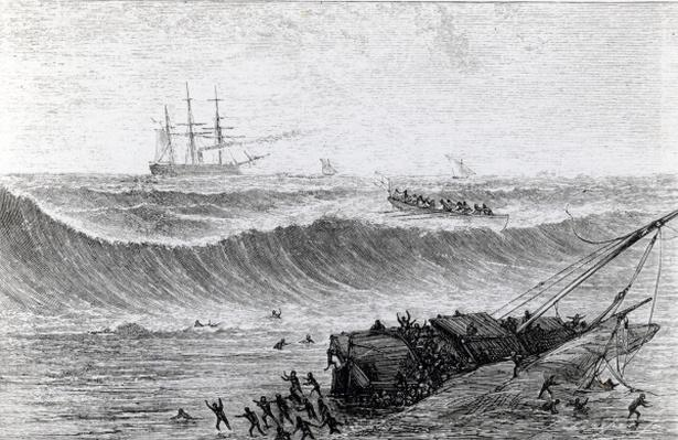 """Crossing the bar in the """"Whaler"""" to rescue negroes from a wrecked dhow"""