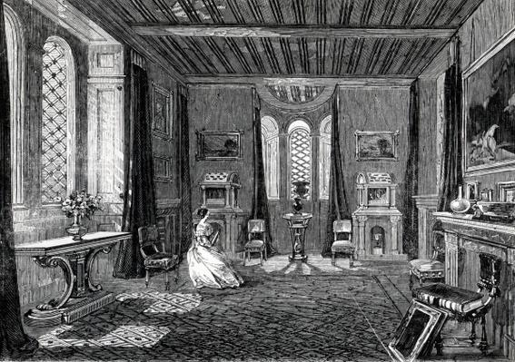 Lansdown Tower - The Scarlet Drawing-Room, published in 'The Illustrated London News', 1845