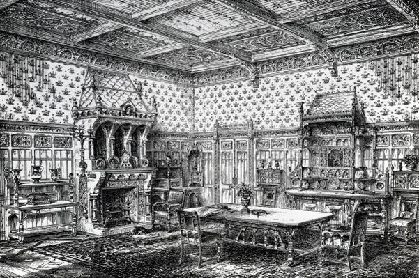 Design for a Gothic Dining Room, published in 'The House-Furnisher & Decorator', September 1 1872