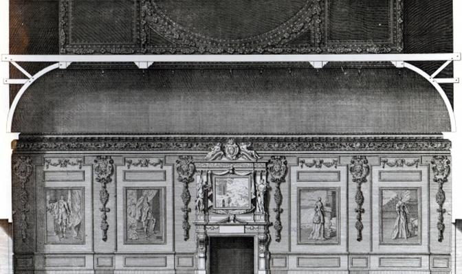 Section of the Great Dining Room at Wilton, after a design by Inigo Jones, engraved by H. Hulsbergh, published in 'Vitruvius Britannicus', 1717