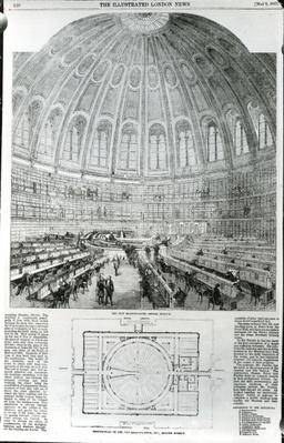 The New Reading-Room, British Museum, published in 'The Illustrated London News', May 9 1857