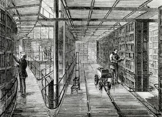 The Book-Cases at the British Museum, illustration from 'Old and New London' by Edward Walford, published c.1880