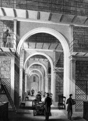 British Museum - Additional Library, engraved by E. Radclyffe, published in 'London Interiors', 1841