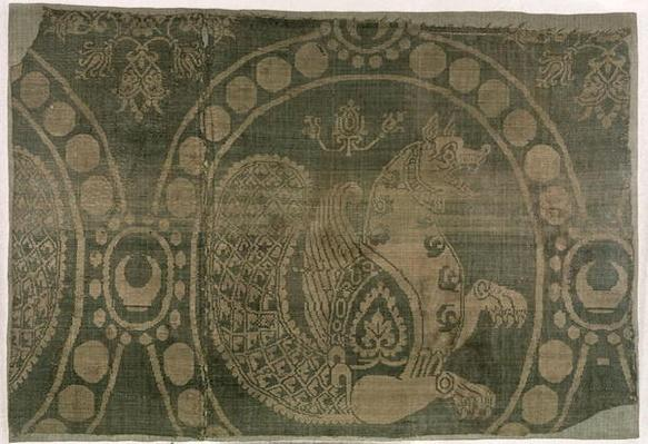 Silk fragment showing the 'Senmurv', Sassanian Dynasty