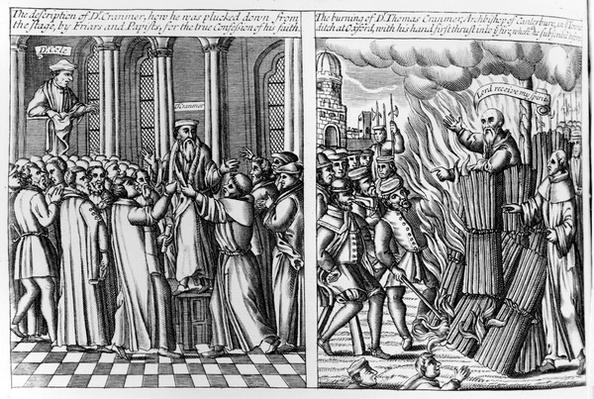 Thomas Cranmer pulled from the Pulpit after confessing his true faith and later being burned at the stake