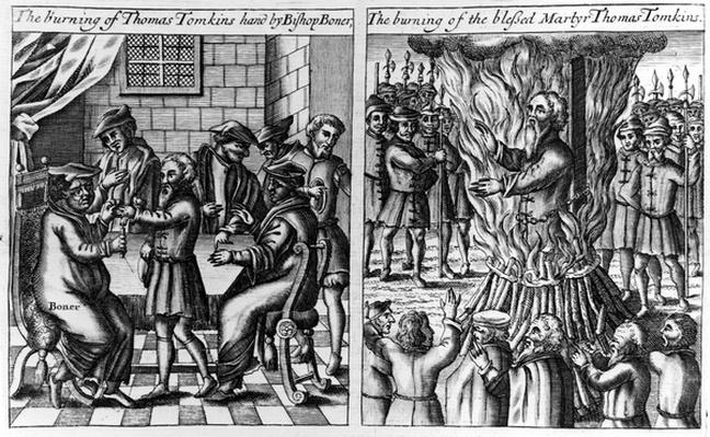 Thomas Tomkins has his hand burned by Bishop Bonner before being burned at the stake, from 'Acts and Monuments' by John Foxe, c.1556