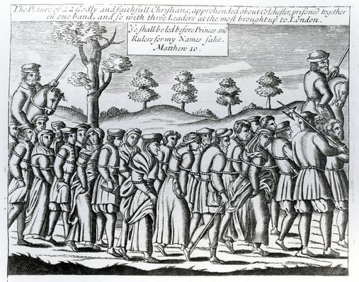 A group of Protestants being led to London for trial, from 'Acts and Monuments' by John Foxe, 1563