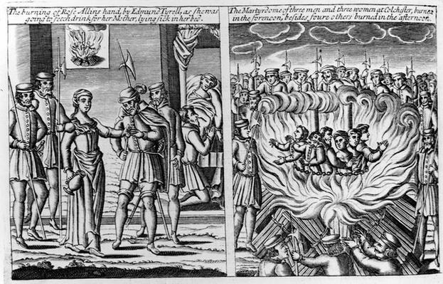 The burning of Rose Allin's hand by Edmund Tyrell and the burning of 6 martyrs at Colchester, from 'Acts and Monuments' by John Foxe, 1563