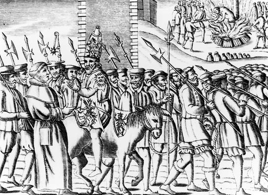 The manner of the Popish Spaniards in carrying Nicholas Burton to his execution, from 'Acts and Monuments' by John Foxe, 1563
