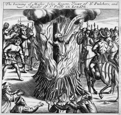 The burning of John Rogers, from 'Acts and Monuments by John Foxe, 1563