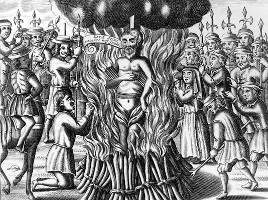 The burning of Mr. John Hooper, from 'Acts and Monuments' by John Foxe, 1563