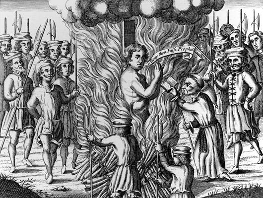 The burning of William Hunter, from 'Acts and Monuments' by John Foxe, 1563