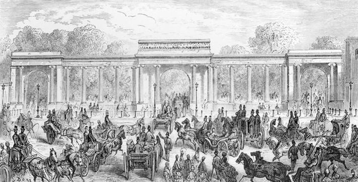 The Entrance to Hyde Park, from 'London, a Pilgrimage', written by William Blanchard Jerrolds, engraved by A. Doms, 1872