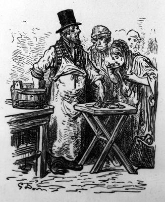 An Oyster Vendor, from 'London, A Pilgrimage' by William Blanchard Jerrold, edition published in 1890