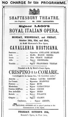 Playbill advertising a performance of 'Cavalleria Rusticana' and 'Crispino e la Comare' at the Shaftesbury Theatre, 1891