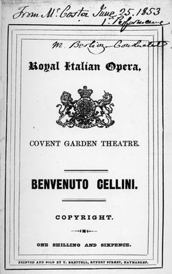 Programme for the opera 'Benvenuto Cellini' by Berlioz, performed in 1853